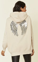 Beige Knitted Hoodie with Angel Wings by HOXTON GAL