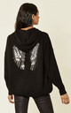 Black Knitted Hoodie with Angel Wings by HOXTON GAL