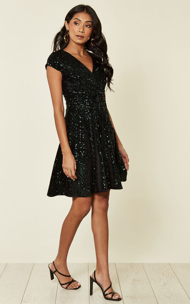 Cap Sleeve Sequin Mini Dress in Green by HOXTON GAL