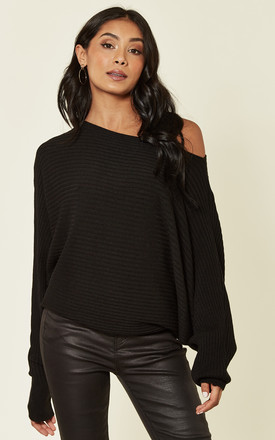 Black Knitted Longwear Relaxed Fit Jumper by HOXTON GAL