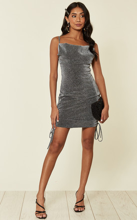 Strappy Mini Dress In Metallic Grey by Twist and Turn Product photo