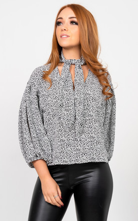 Bow neck blouse in Black/White Animal Print by Miss Attire