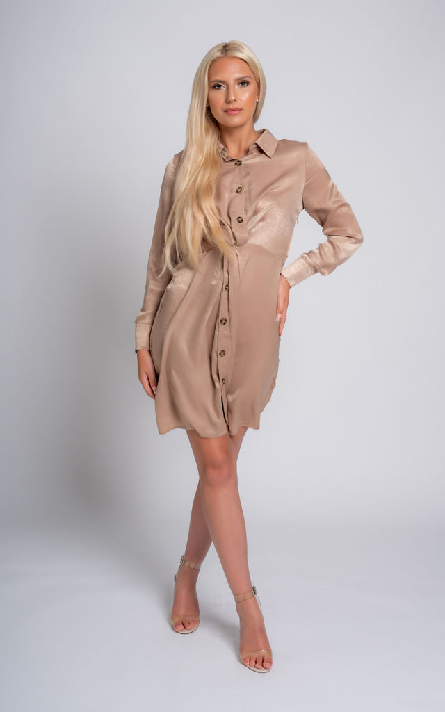 Cargo Mini Shirt Dress in Champagne by Miss Attire