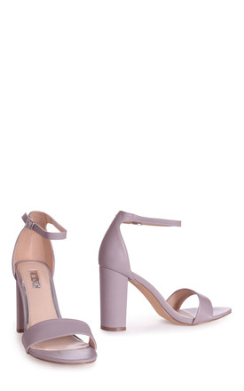 Selena Mauve Nappa Barely There Block Heels by Linzi