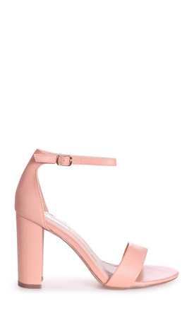 Selena Peach Strappy Block Heels by Linzi