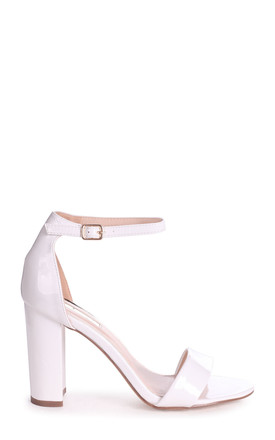 Daze White Patent Barely There Heels by Linzi