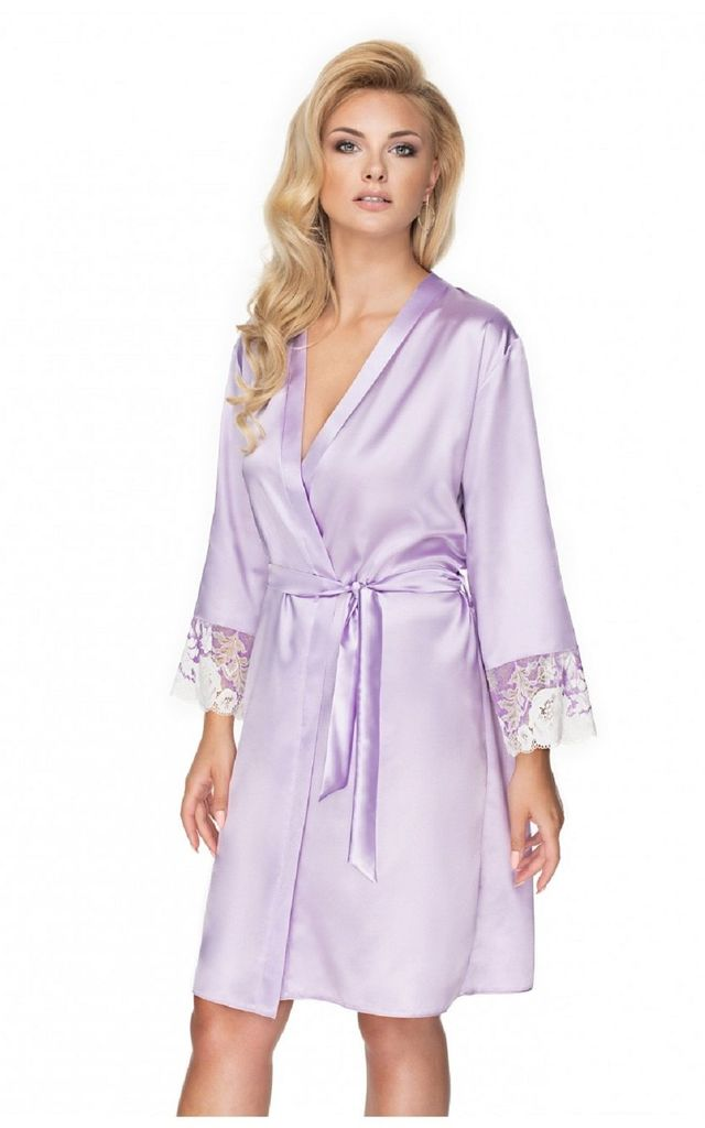 Lilac Satin Knee Length Dressing Gown by BB Lingerie