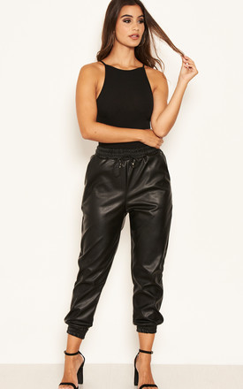 Black Pu Jogger Pant With Elasticated Waist by AX Paris Product photo