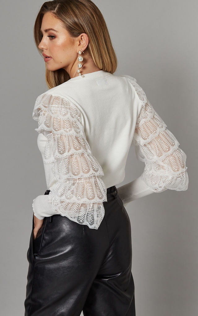 KATHLEEN Layered Lace Frills Top in Cream by Blue Vanilla