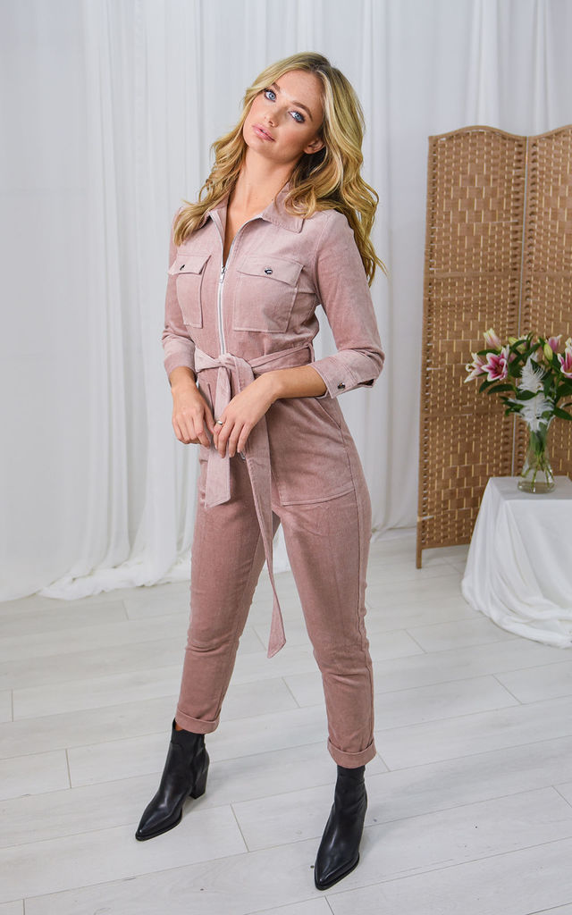 Emma Blush Utility Corduroy Jumpsuit by Style Cheat