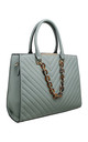 ACRYLIC CHAIN QUILTED TOTE BAG in GREEN by BESSIE LONDON