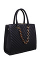 ACRYLIC CHAIN QUILTED TOTE BAG in BLACK by BESSIE LONDON