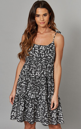 Arielle   Tie Strap Tiered Dotty Dress Black by Blue Vanilla Product photo