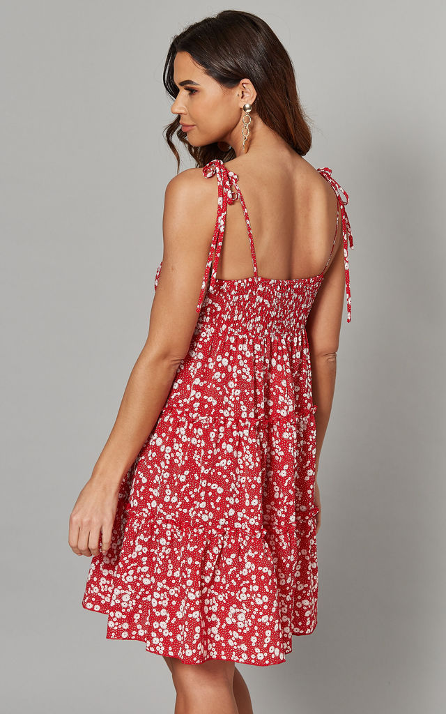 ARIELLE - Tie Strap Tiered Dotty Dress Red by Blue Vanilla