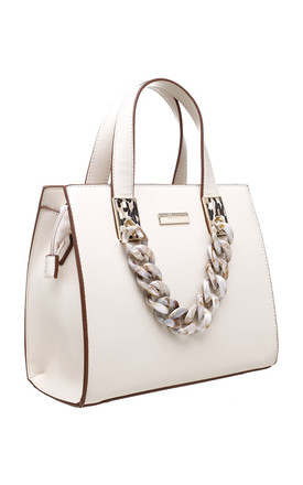 URBAN ACRYLIC CHAIN TOTE BAG IN BEIGE by BESSIE LONDON