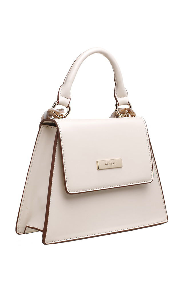 ACRYLIC CHAIN TOP HANDLE BAG IN BEIGE by BESSIE LONDON