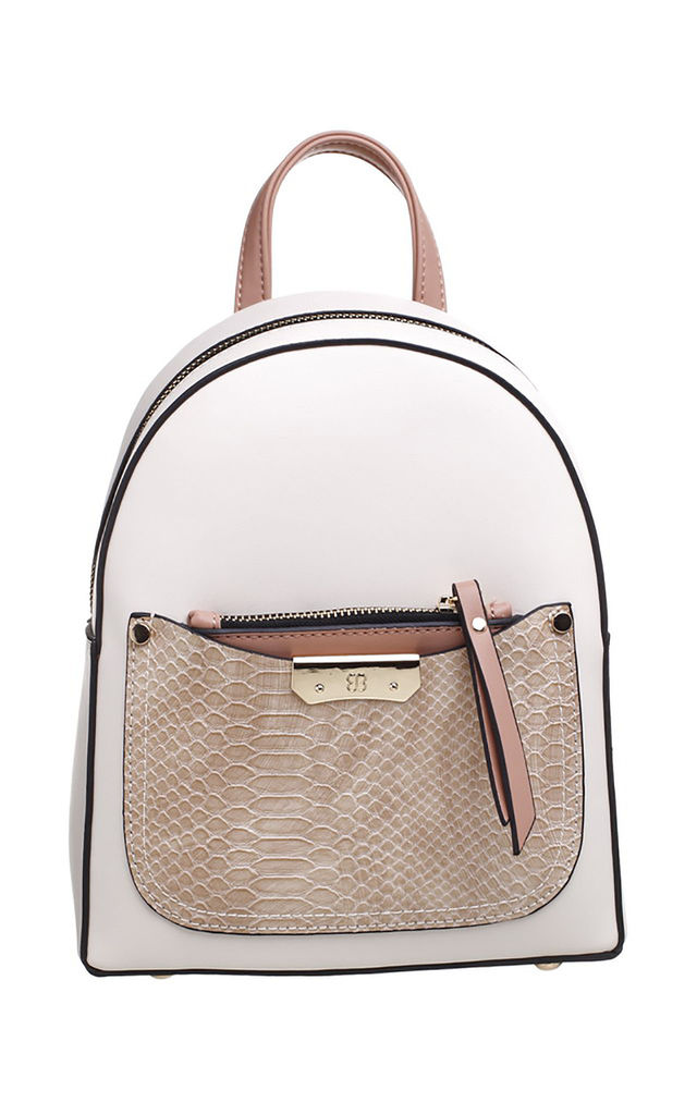 BEIGE SMALL CROC PRINT BACKPACK by BESSIE LONDON
