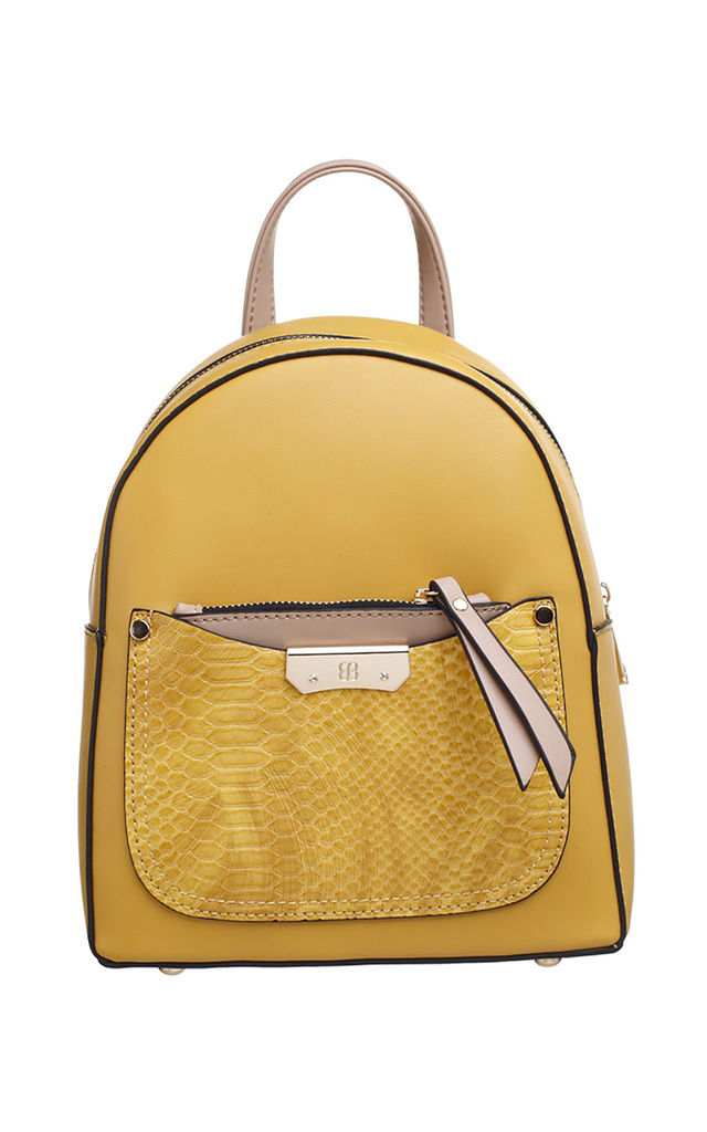 YELLOW SMALL CROC PRINT BACKPACK by BESSIE LONDON