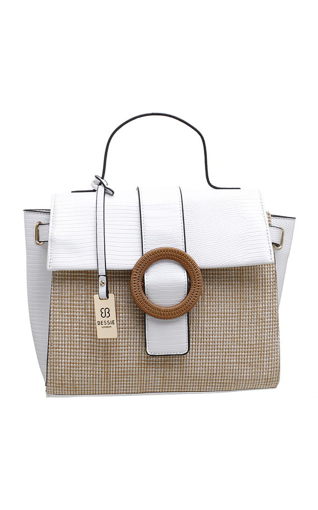 WHITE TWO TONE WOVEN BAG by BESSIE LONDON