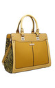 YELLOW SNAKE PRINT PANEL TOTE BAG by BESSIE LONDON