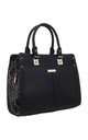 BLACK SNAKE PRINT PANEL TOTE BAG by BESSIE LONDON