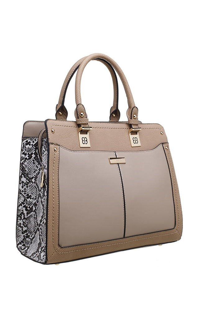 SNAKE PRINT PANEL TOTE BAG by BESSIE LONDON
