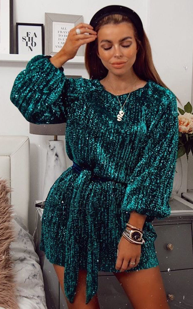 Green Sequin Mini Dress with Long Sleeves by Luxy Boutique