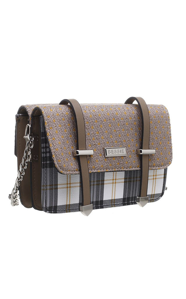 BROWN CHECK SATCHEL BAG IN TAN/MULTICOLOUR by BESSIE LONDON