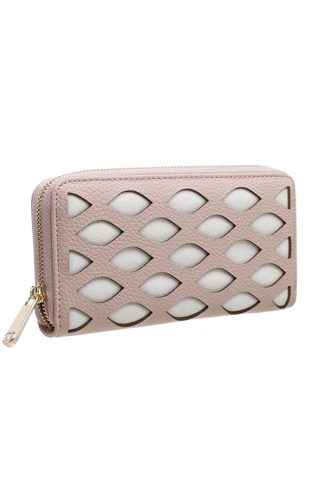 LARGE LASER CUT PURSE IN PINK by BESSIE LONDON