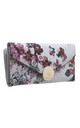 FLAP OVER PURSE IN RED FLORAL PRINT by BESSIE LONDON