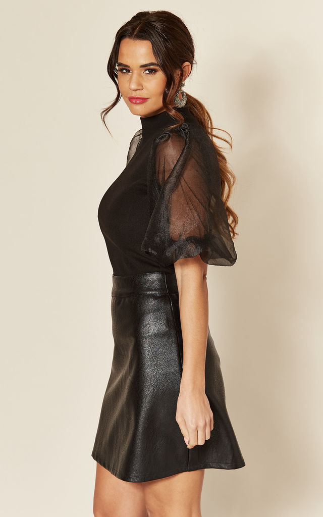 Black High Neck Organza Puff Sleeve Bodysuit by AX Paris