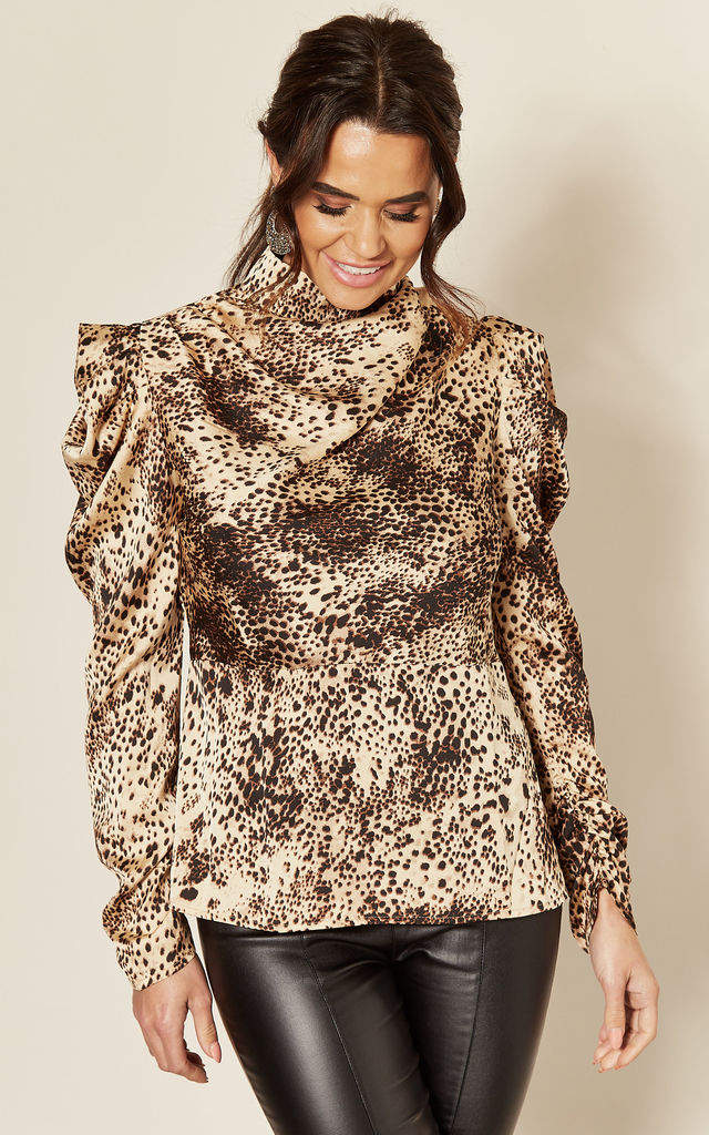 Satin Leopard Print Top with High Neck by AX Paris
