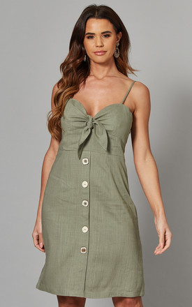 Elspeth   Tie Front Button Mini Dress Khaki by Blue Vanilla Product photo