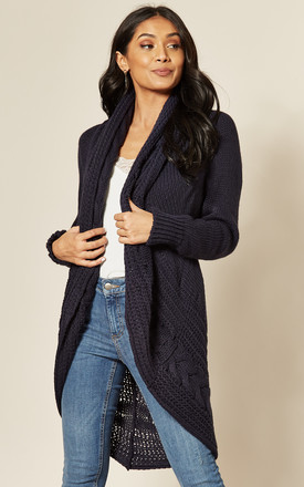 Exclusive Chunky Pleat Long Cardigan In Navy by Love Product photo