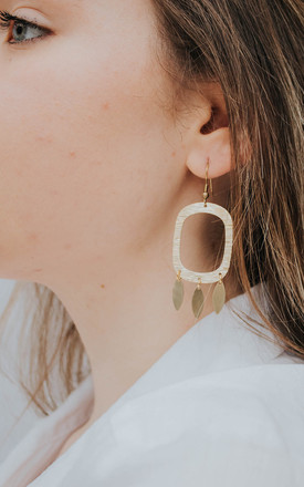 Hannah Dangle Drop Earrings In Gold Tone Brass by Ohemaa Jewellery Product photo