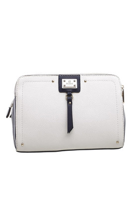WHITE CANVAS CROSSBODY BAG by BESSIE LONDON