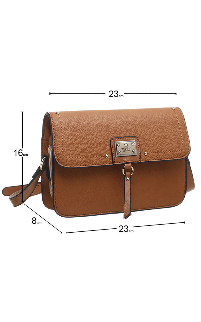 BROWN TWO TONE CROSSBODY BAG by BESSIE LONDON