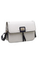 FLAP-OVER TWO TONE CROSSBODY BAG IN WHITE by BESSIE LONDON