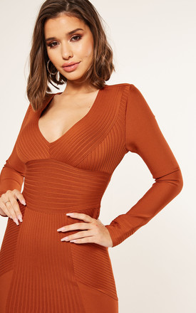 Ribbed Panel Long Sleeve Mini Dress in Rust by The Girlcode