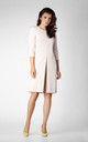 3/4 Sleeve Dress with Front Pleat in Beige by Bergamo