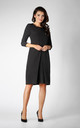 3/4 Sleeve Dress with Front Pleat in Black by Bergamo