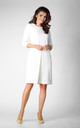 3/4 Sleeve Dress with Front Pleat in Ecru by Bergamo
