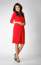 3/4 Sleeve Dress with Front Pleat in Red by Bergamo
