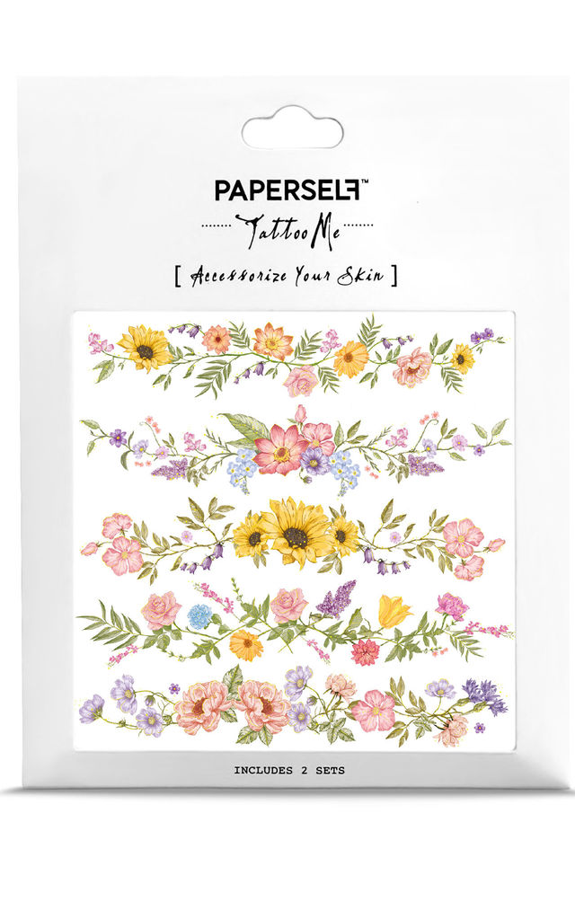 Flower Chain Temporary Tattoo Pack by PAPERSELF