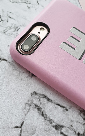 Pink and grey PU leather printed monogram phone case by Rianna Phillips