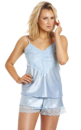 Pale Blue Satin Camisole & Knicker Set by BB Lingerie