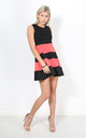 Coral Colour Block Mini Skater Dress by Oops Fashion