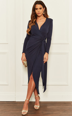 Navy Long Sleeve Tie Side Midi Wrap Dress by John Zack Product photo