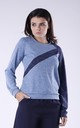 Two Tone Sweatshirt in Light Blue & Navy by Bergamo