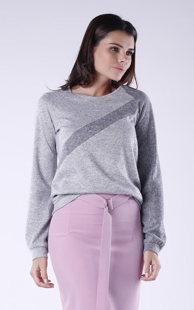 Two Tone Sweatshirt in Light Grey & Dark Grey by Bergamo